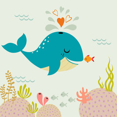 Cute romance whale and little goldfish in love