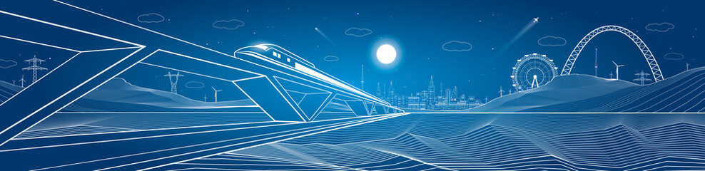 Train move, dynamic composition, mountains and night city