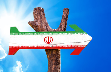 Iran Flag wooden sign with a beautiful day