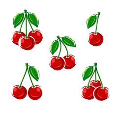 cherry set. Vector