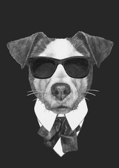 Hand drawn fashion Illustration of Jack Russell. Vector isolated elements.