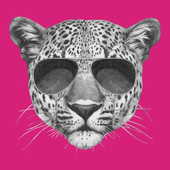 Hand drawn portrait of Leopard with sunglasses. Vector isolated elements.