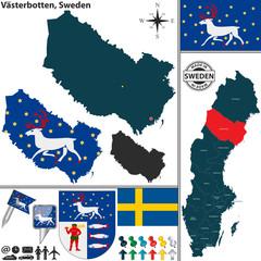 Map of Vasterbotten, Sweden