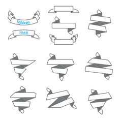 Vector : Set of Modern abstract ribbons in sketch style ,use for