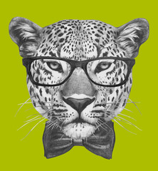 Hand drawn portrait of Leopard with glasses and bow tie. Vector isolated elements.
