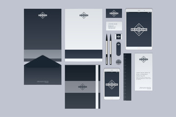 Modern corporate identity template design. Flat design vector illustration