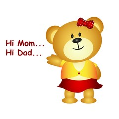 Little bear say hi mom and dad