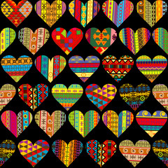 Patterned hearts set, seamless background