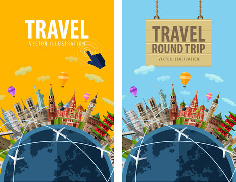 travel, journey, trip vector logo design template. vacation or
