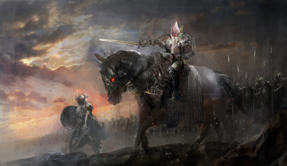 dark king on horse with army