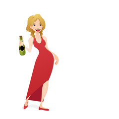 Girl holding a bottle of Champagne
