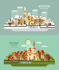 city, town vector logo design template. house, building or