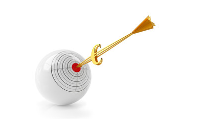 Business sphere. Goal. Golden arrow - euro.