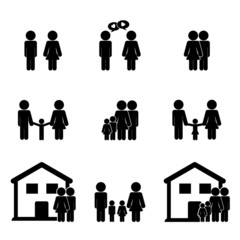 Family life icon set