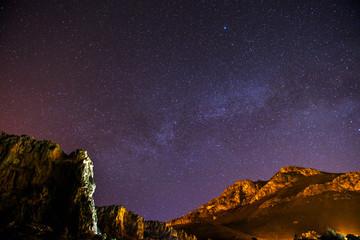 The starry sky above rocky dolomite