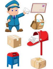 Mail carrier with bag and letter