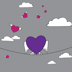 purple heart sitting on the rope, hearts fly on background