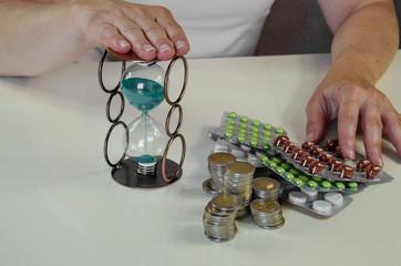 pills, money and hourglass
