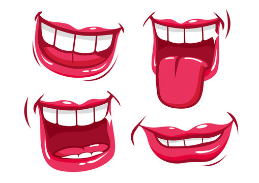 Funny smiling mouths vector set