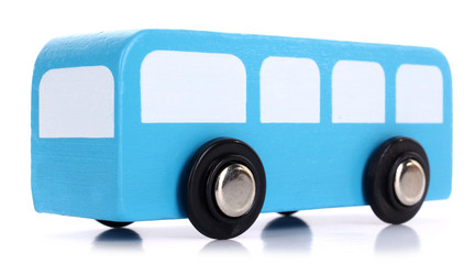 Wooden toy blue bus