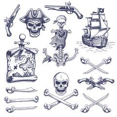 Set of vintage hand drawn pirates designed elements