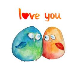2 birds. Love. Watercolor