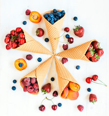 Fresh fruits in cone