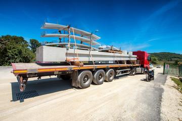 Truck transporting construction materials