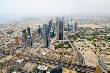 Aerial view of World Trade center in Dubai