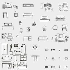 Home furniture icons set vector illustration