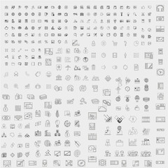 Web and business icons collection on gray background
