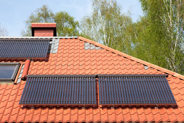 Solar pipes on roof, solar energy source