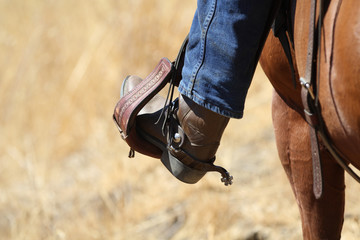 A close up view of a cowboy with his foot in the stirrup.