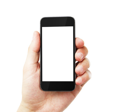 hand with empty cell phone