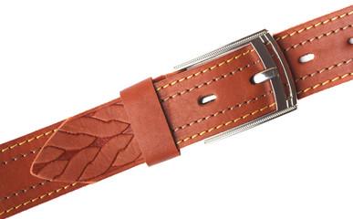 Бежевый кожаный ремень с пряжкой