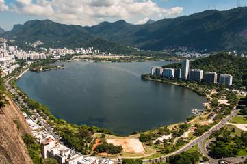Rio de Janeiro Landscape with Mountains and Lagoon