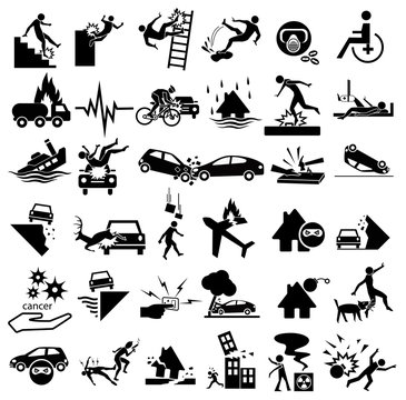 accident icons set for insurance