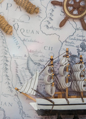 sailboat front Antique pirate map