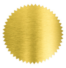gold metal foil sticker seal isolated with clipping path