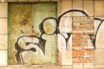 Graffiti Covered Old Disused Metal Doorway