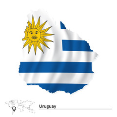 Map of Uruguay with flag