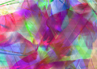 colored feathers background with transparent triangles over them