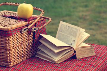 Autocollant pour porte Pique-nique Picnic basket and book on the grass