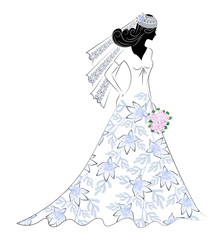 victorian photos royalty free images graphics vectors videos Civil War Era Wedding Gowns silhouette of a bride with a bouquet in a wedding dress with a f