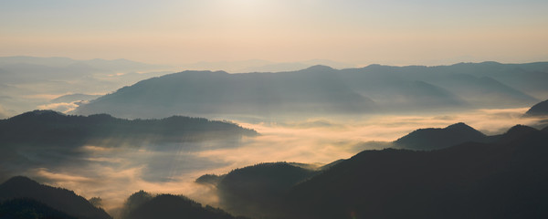 Morning fog in the Carpathian mountains