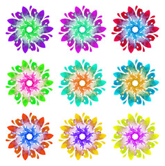 Watercolour pattern - Set of nine abstract flowers