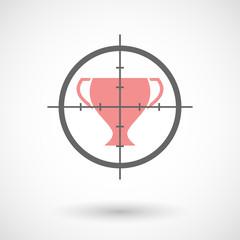 Crosshair icon targeting an award cup