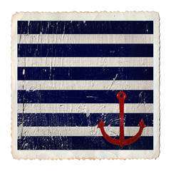 Anchor and navy blue and white stripes painted on wooden grunge background texture, vintage sea card isolated on white, summer concept.