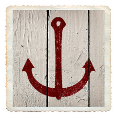 Anchor painted on white wooden grunge background texture, vintage sea card isolated on white.