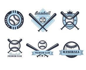 Baseball Emblems or Badges with Various Designs